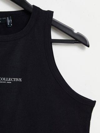 WOMEN Weekend Collective Curve ribbed sleeveless tank with logo in black