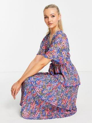 WOMEN wrap front tiered pleated midi dress in navy flirty floral print
