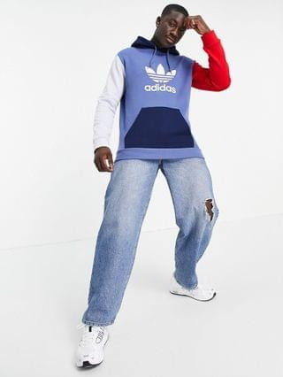 MEN adidas Originals hoodie in blocked blue with large logo
