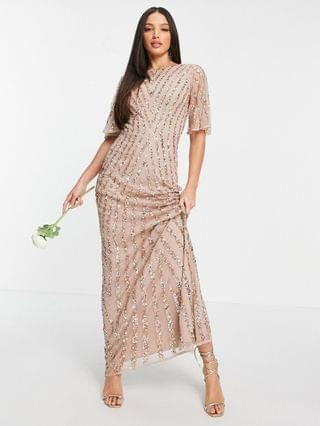 WOMEN Maya Tall flutter sleeve all over patterned sequin dress in taupe blush