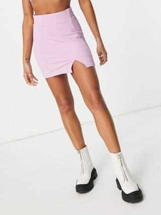 WOMEN Bershka knitted skirt set with slit detail in lilac