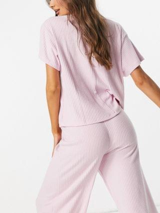 WOMEN mix & match ribbed jersey and lace slouchy pajama tee in pink