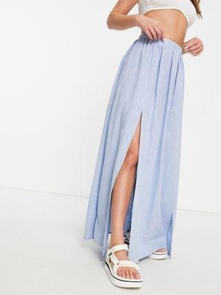 WOMEN textured split front beach maxi skirt in icy blue