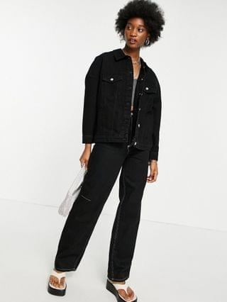 WOMEN Only oversized denim jacket in washed black
