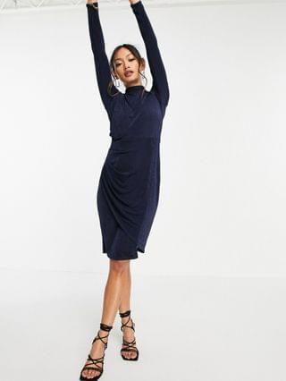 WOMEN Closet London long sleeve jersey wrap dress in navy
