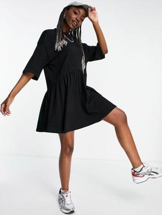 WOMEN Tall oversized mini smock dress with dropped waist in black