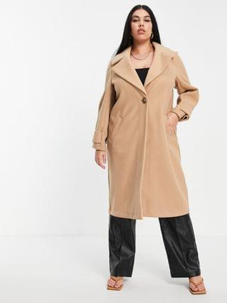 WOMEN River Island Plus cuff detail single breasted coat in brown