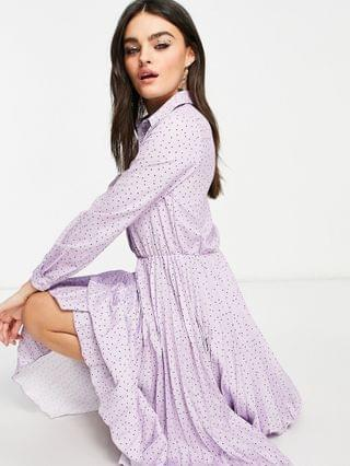 WOMEN Closet London pleated midi dress with sparkle buttons in lilac dot print
