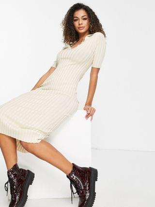WOMEN Monki Jacqueline midi dress with collar detail in beige