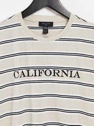 New Look striped t-shirt with California embroidery in stone