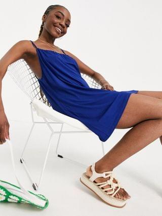 WOMEN Tall gathered neck strappy mini sundress in navy