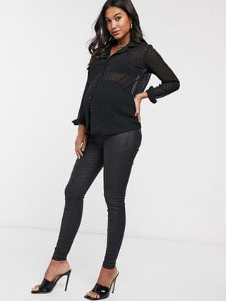 WOMEN River Island Maternity Molly overbump waxed coated jeans in black