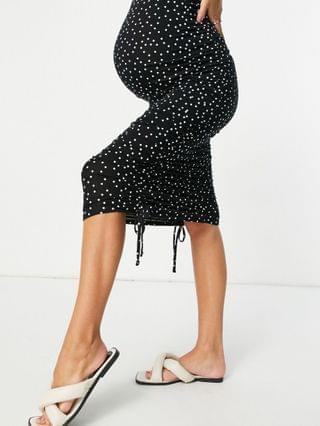WOMEN Maternity ruched sweetheart body-conscious midi dress in spot print