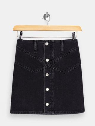 WOMEN Topshop Petite button up denim skirt in washed black