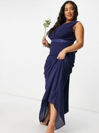 WOMEN TFNC Plus bridesmaid plunge front bow back maxi dress in navy