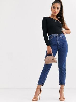 WOMEN Petite Recycled Farleigh high waisted slim mom jeans in flat blue