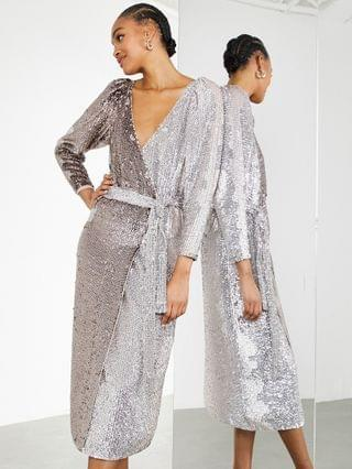 WOMEN EDITION ombre sequin wrap dress in silver