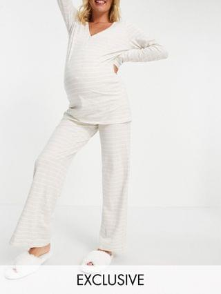 WOMEN Lindex MOM organic cotton button front maternity pajama set in gray