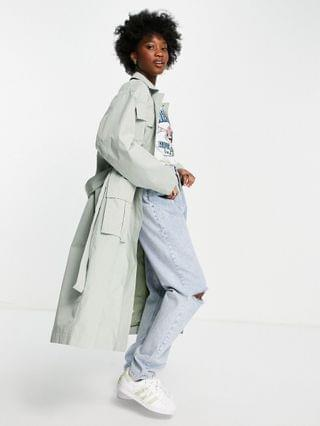 WOMEN luxe oversized trench coat with pocket detail in sage