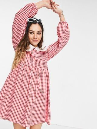 WOMEN Vintage Supply mini dress with puff sleeves in red gingham with contrast frill collar