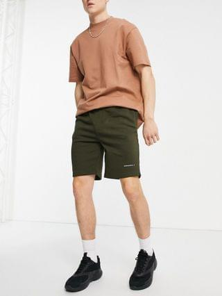 Good For Nothing jersey shorts in khaki green