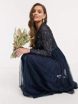 WOMEN Maya Petite Bridesmaid long sleeve maxi tulle dress with tonal delicate sequins in navy