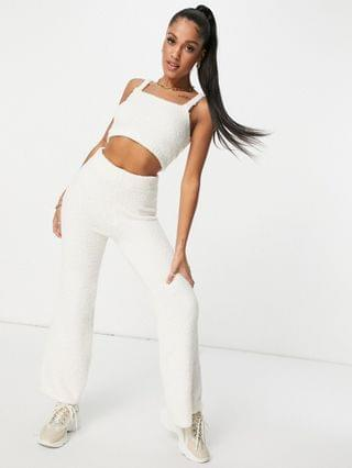 WOMEN Missguided set recycled popcorn knit wide leg pants in white
