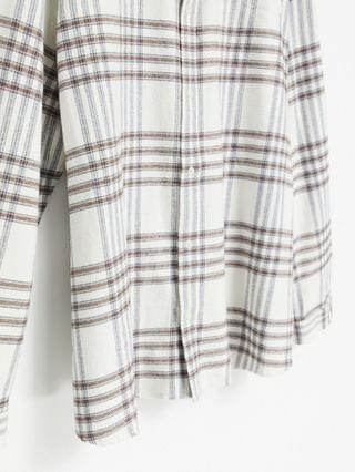 River Isand Big & Tall long sleeve checked shirt in stone
