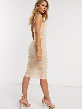 WOMEN cami ruched pearl mesh body-conscious midi dress in pale pink