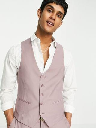 New Look skinny suit jacket, vest and pants in pale pink