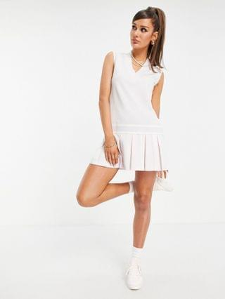 WOMEN adidas Originals 'Tennis Luxe' logo V neck pleated dress in pearl pink