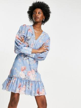 WOMEN Forever U floral frilled mini dress in blue