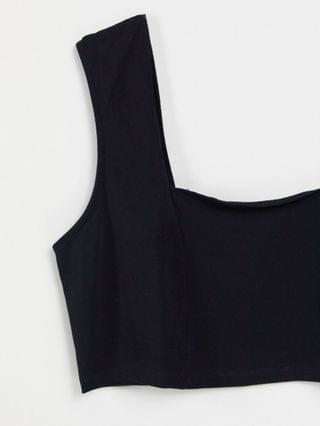 WOMEN Curve crop cami with square neck and seam detail in black