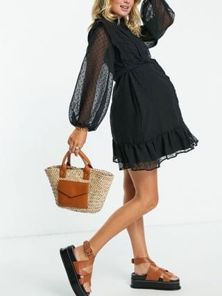 WOMEN Maternity nursing button through mini skater shirt dress with lace inserts in texture in black