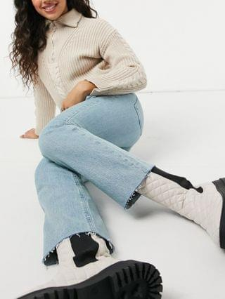 WOMEN high rise stretch 'effortless' cropped kick flare jeans in pretty lightwash
