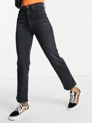 WOMEN Wrangler wild west high rise straight leg jeans in washed black