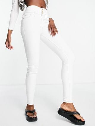 WOMEN River Island Tall button front high rise skinny jeans in white