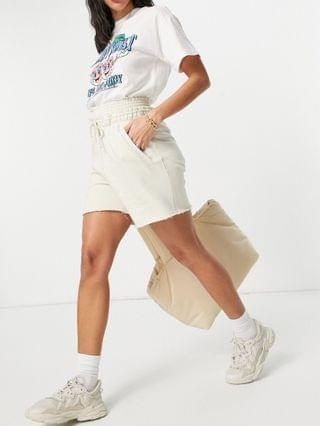 WOMEN Weekday Ada plant-based dye pull on shorts in off-white