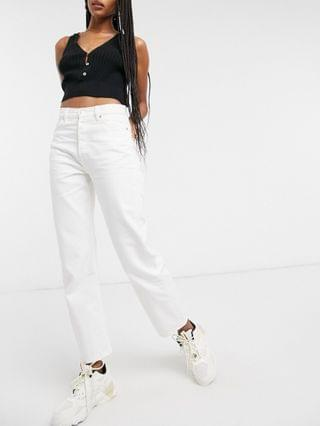 WOMEN & Other Stories Favorite organic cotton mid rise straight leg cropped jeans in white
