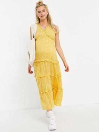 WOMEN Maternity sleeveless tiered crinkle maxi dress with lace inserts in mustard spot