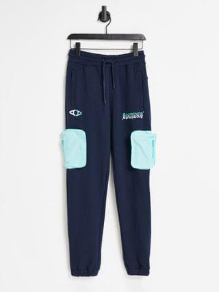 Arcminute jersey sweatpants in navy with patch pocket