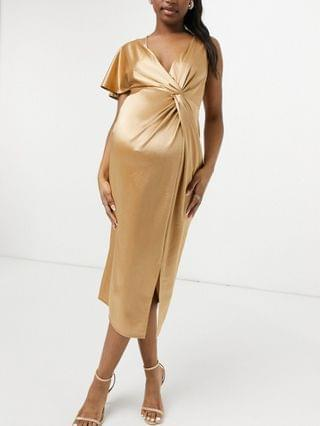 WOMEN Maternity twist one sleeve midi dress with thigh slit in gold