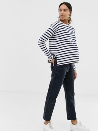 WOMEN Maternity Recycled Florence authentic straight leg jeans in washed black with side bump bands