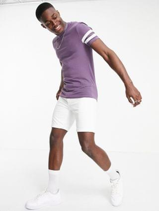 skinny fit t-shirt in purple organic cotton with sleeve stripe