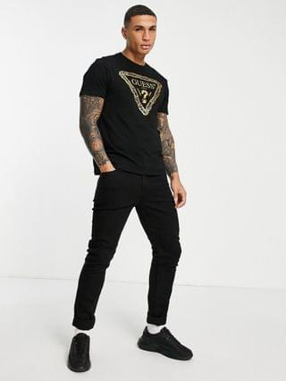 Guess t-shirt with gold chest logo in black