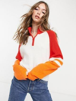 WOMEN French Connection Martha sweater in white with red contrast sleeves