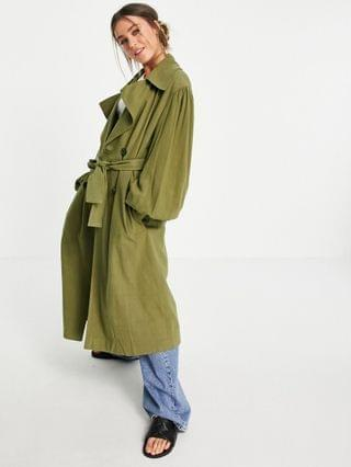 WOMEN oversized linen trench coat with sleeve detail in khaki