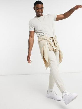 New Look longline t-shirt in off white