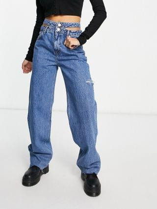 WOMEN Pull&Bear 90's straight leg jeans with double waist detail in blue