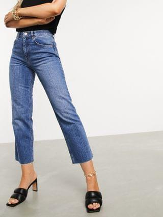 WOMEN high rise stretch 'effortless' crop kick flare jeans in mid vintage wash